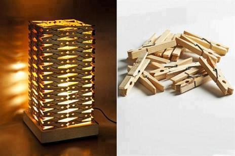 Лампа от дървени щипки